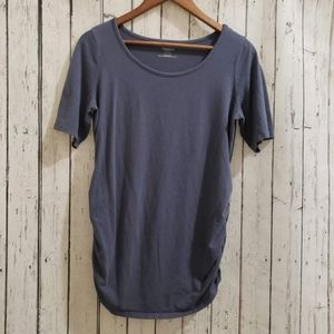 (LG) Motherhood Maternity T-Shirt   Blue with Ruched Sides   Regular Sleeves